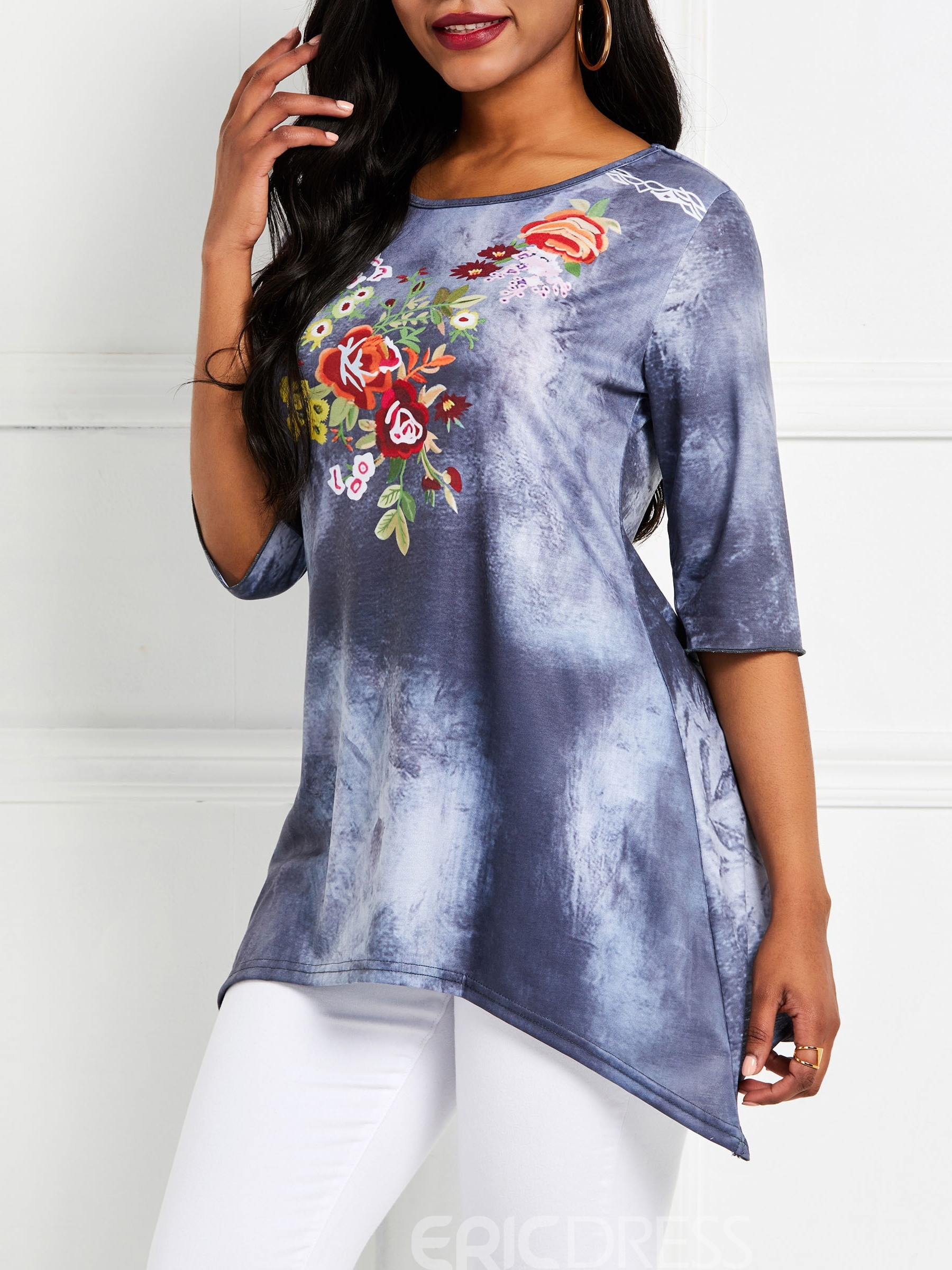 Ericdress Round Neck Half Sleeve Casual Loose T-Shirt