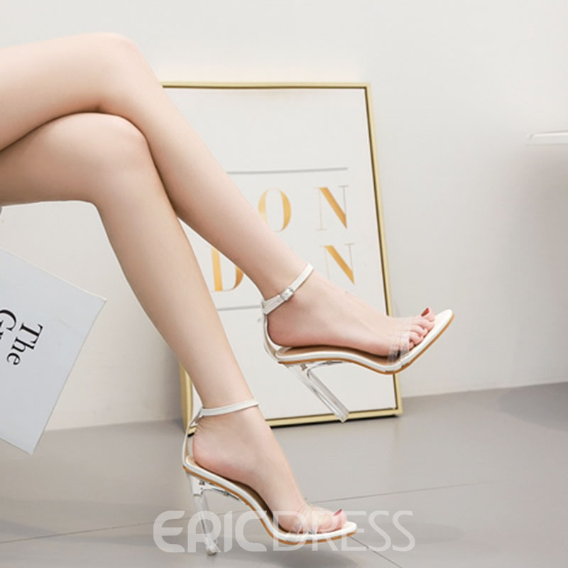Ericdress PVC Heel Covering Chunky Heel Women's Sandals