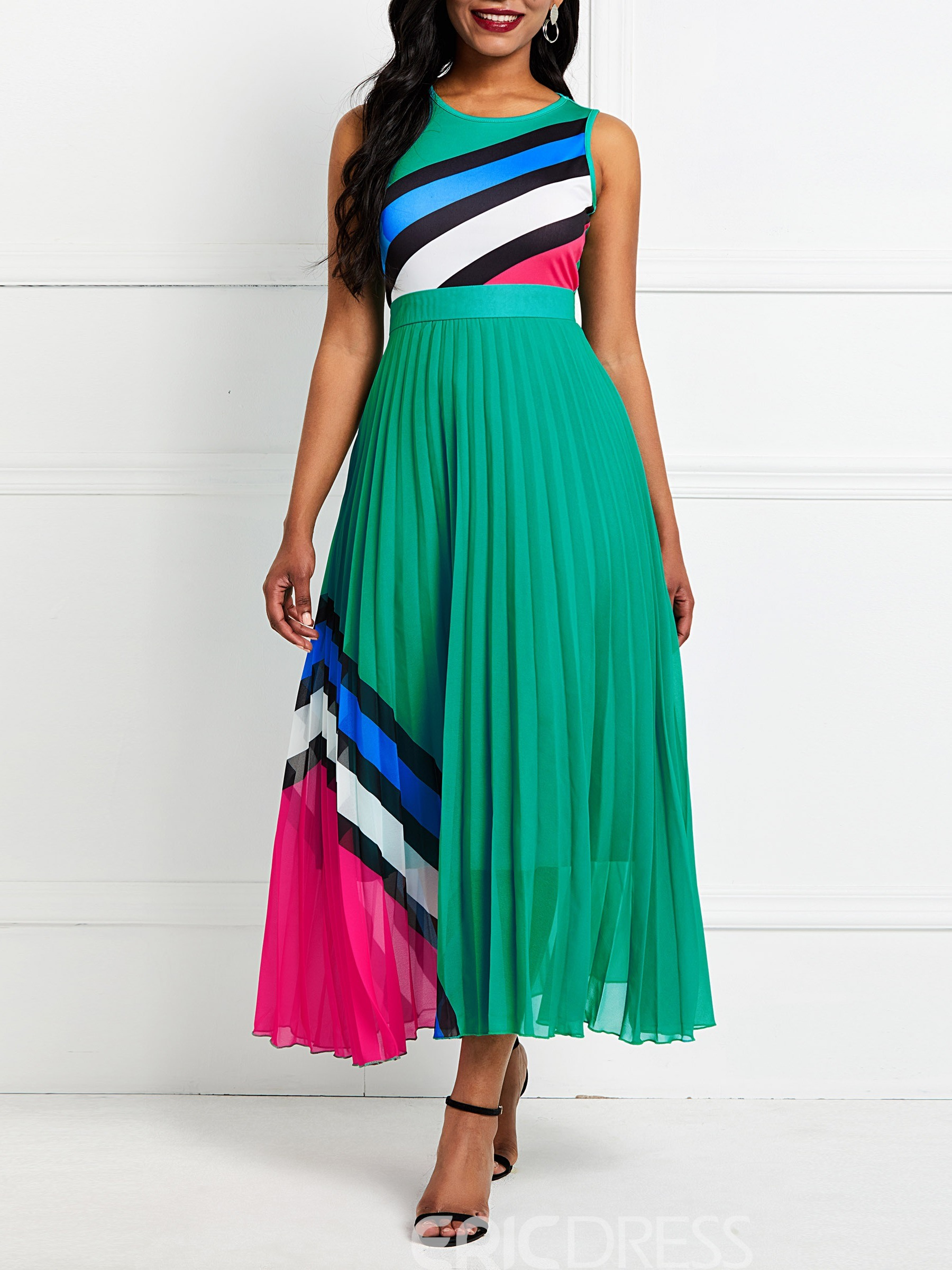 Ericdress Patchwork Mid-Calf Round Neck Expansion Dress(Without Waistband)