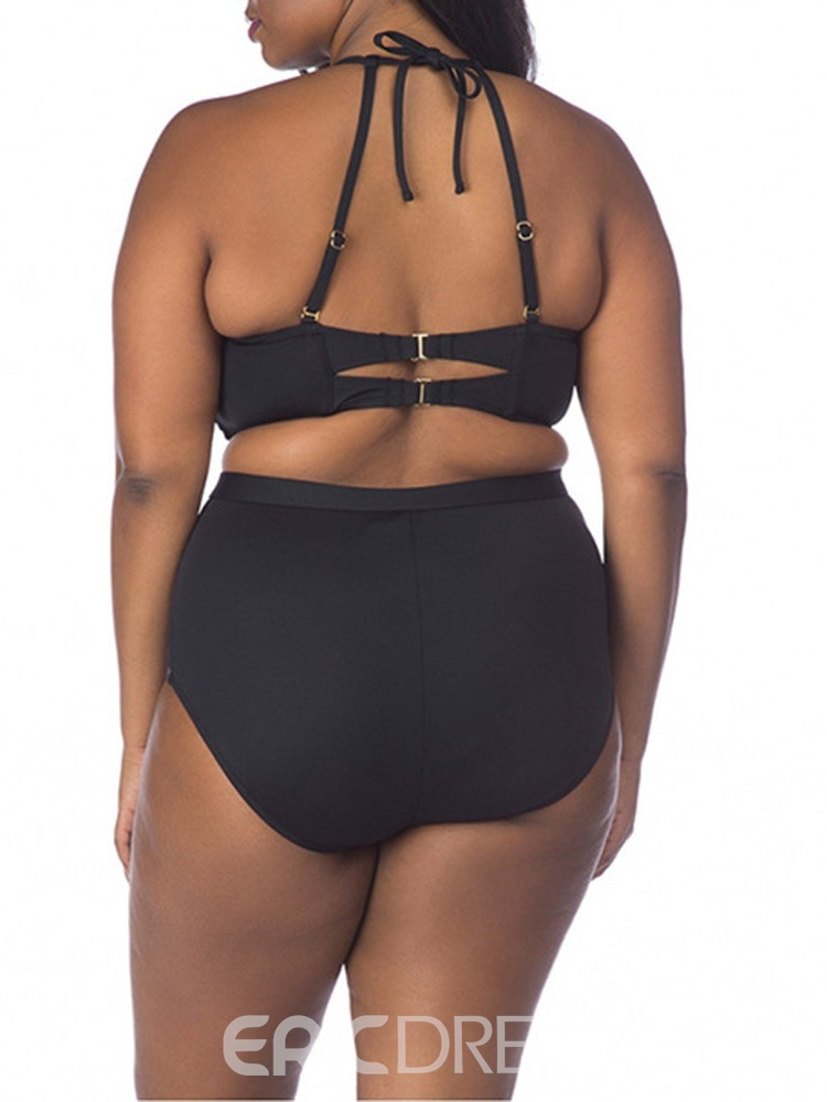 Ericdress Hollow Patchwork Lace-Up Plus Size Swimsuit