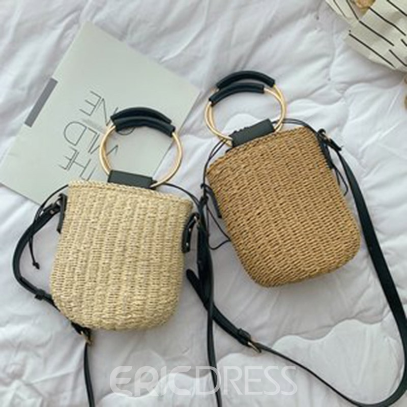 Ericdress Grass Plain Knitted Barrel-Shaped Tote Bag