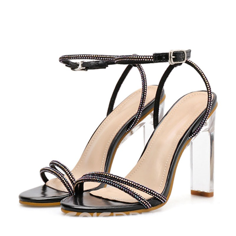 Ericdress Rhinestone Chunky Heel Ankle Strap Women's Sandals