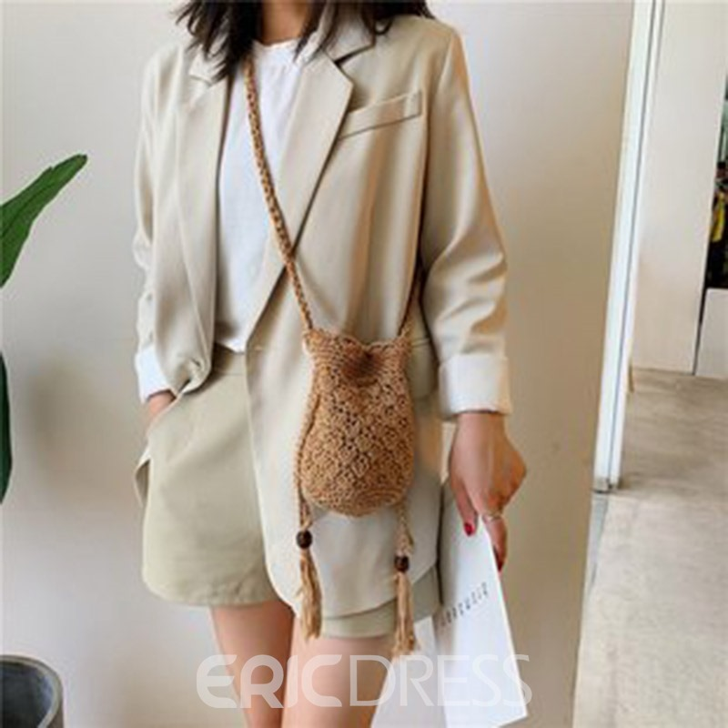 Ericdress Plain Linen Knitted Barrel-Shaped Crossbody Bag