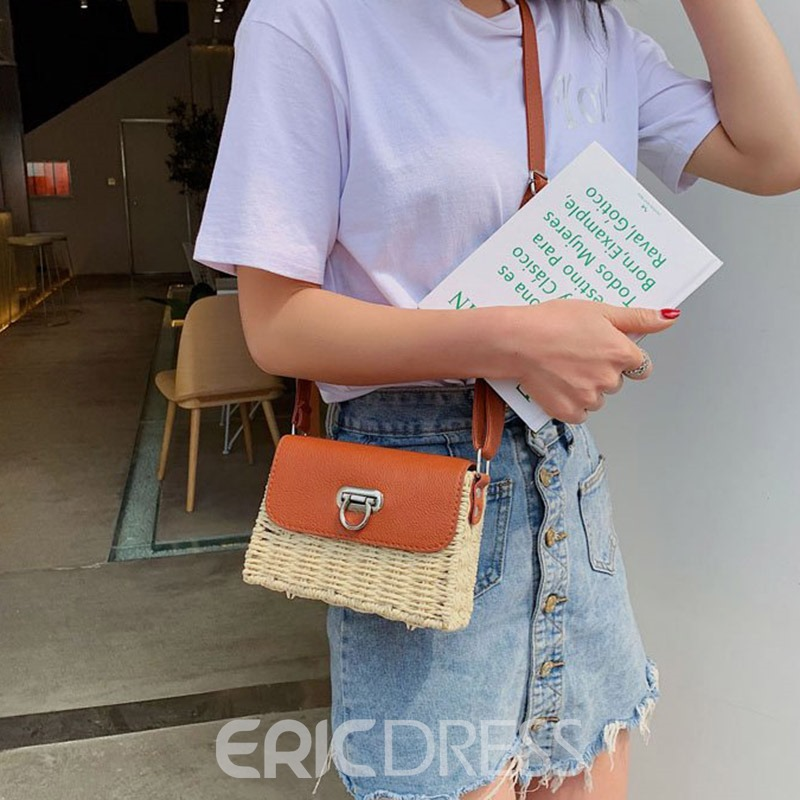 Ericdress Grass Thread Flap Crossbody Bag