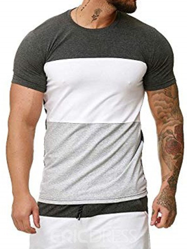 Ericdress Color Block Casual Round Neck Slim Mens T-shirt