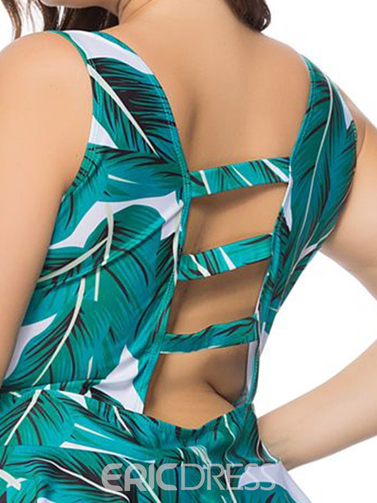 Ericdress Plant Lace-Up Print Plus Size Swimsuit