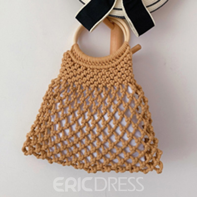 Ericdress Linen Hollow Barrel-Shaped Tote Bag