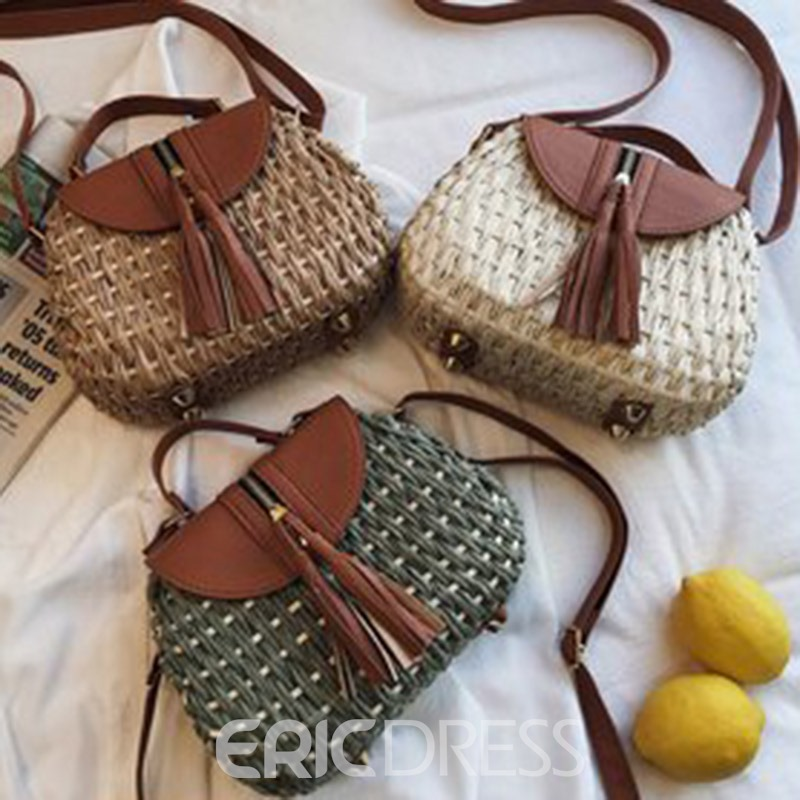 Ericdress Knitted Grass Tote Bag