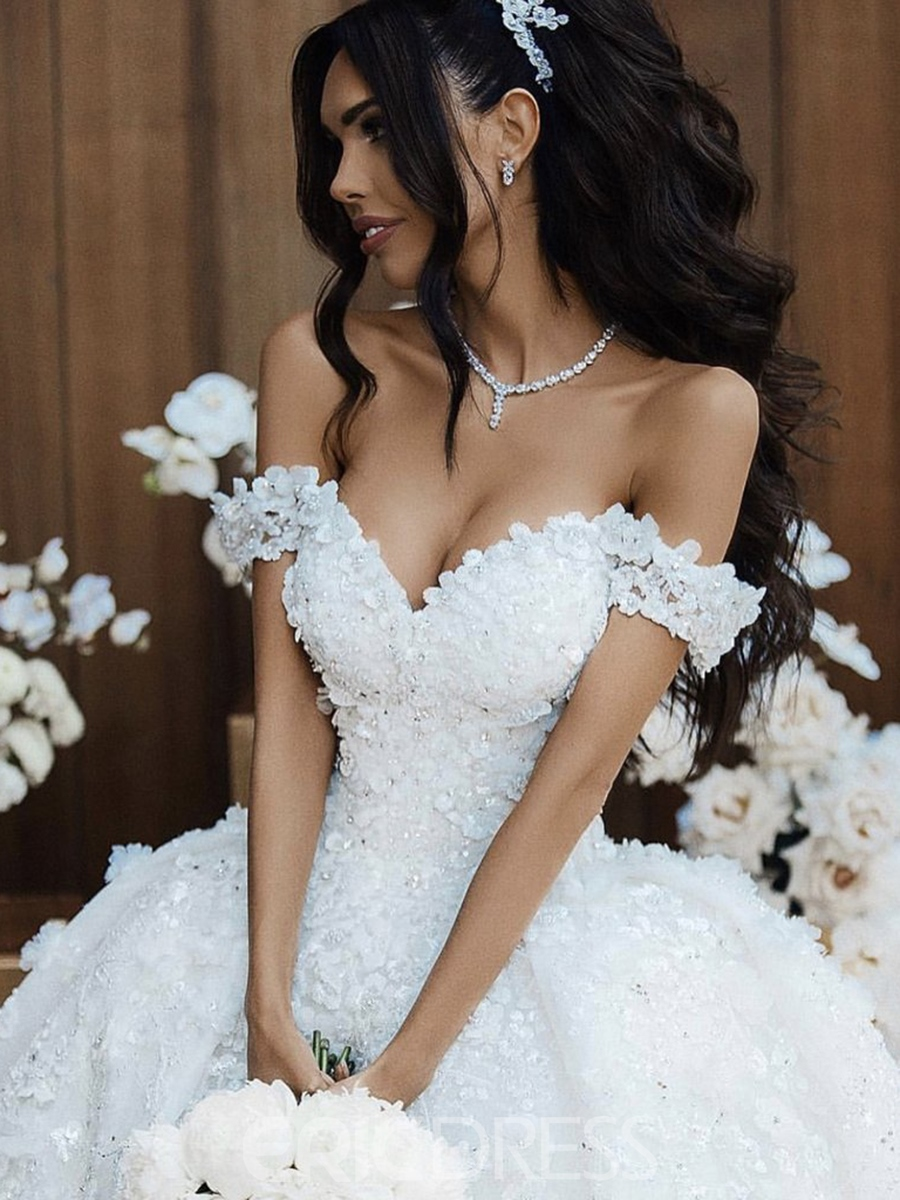 Ericdress Ball Gown Cathedral Train Flowers Wedding Dress 2019
