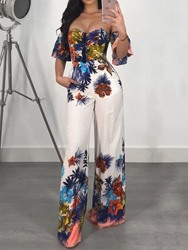Ericdress Lace-Up Floral Print African Style Loose Jumpsuit фото