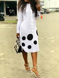 Ericdress Mid-Calf Polka Dots Print Going Out A-Line Dress фото