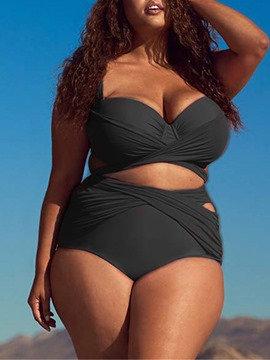 Ericdress Pleated Plus Size Plain Sexy Swimsuit