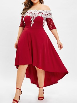 Ericdress Plus Size Lace Patchwork Half Sleeve Off Shoulder Asymmetrical Dress