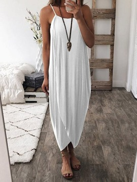 Ericdress Asymmetrical Casual Mid-Calf Sleeveless Dress