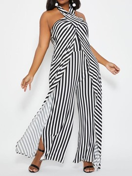 Ericdress Plus Size Halter Split Stripe Slim Jumpsuit