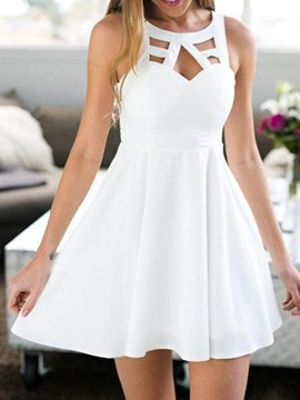 Ericdress Sleeveless Above Knee Backless Mid Waist Plain Dress