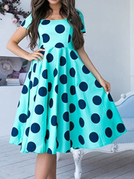 Ericdress Polka Dots A-Line Short Sleeve Regular Scoop Dress