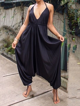Ericdress Lace-Up Plain Sexy Loose Jumpsuit