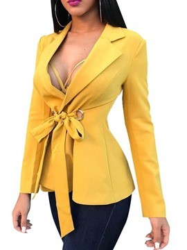 Ericdress Notched Lapel Lace-Up Office Lady Blazer