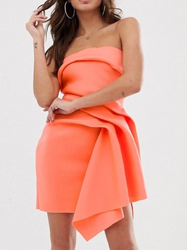 Ericdress Strapless Pleated Asymmetrical Sleeveless Above Knee Plain Dress