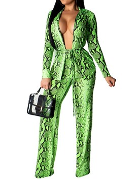 Ericdress Pantsuit Color Block Print Straight Lace-Up Coat And Pants Two Piece Sets