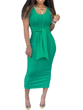 Ericdress Split Mid-Calf Sleeveless Bodycon Pencil Dress