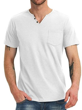 Ericdress Pocket V-Neck Plain Men's Straight T-shirt