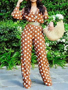 Ericdress Polka Dots Print Slim Straight Women's Jumpsuit(Without Belt)