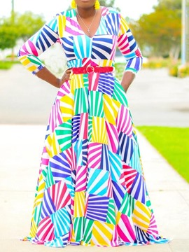 Ericdress Plus Size Print V-Neck Going Out Stripe Maxi Dress
