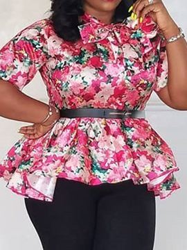 Ericdress Print Bowknot Plus Size Fashion Blouse