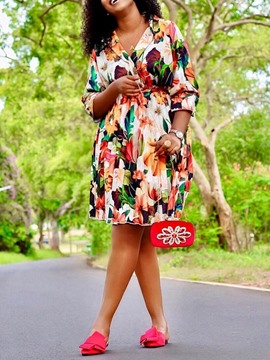 Ericdress Three-Quarter Sleeve Print Knee-Length A-Line Print Going Out Dress