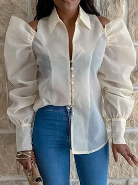 Ericdress Lapel See-Through Button Fashin Blouse