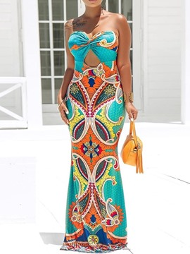 Ericdress African Fashion Floor-Length Sleeveless Print Strapless Dress