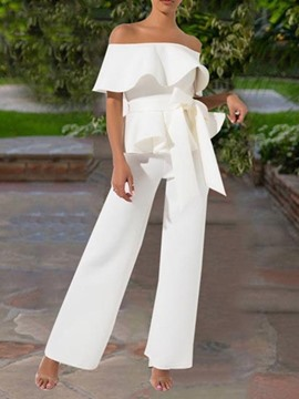 Ericdress Plain Ruffles Dressy Off Shoulder Bowknot Jumpsuit