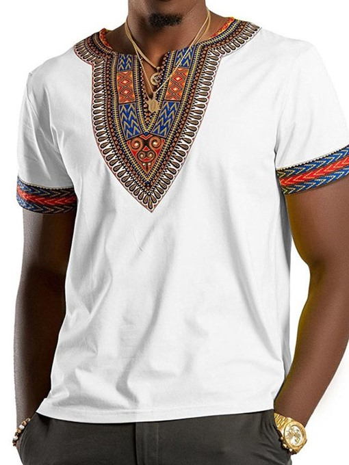 Ericdress Print Casual Color Block Mens Wrapped T-shirt