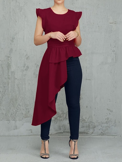 Ericdress Asymmetric Falbala Plain Long Blouse