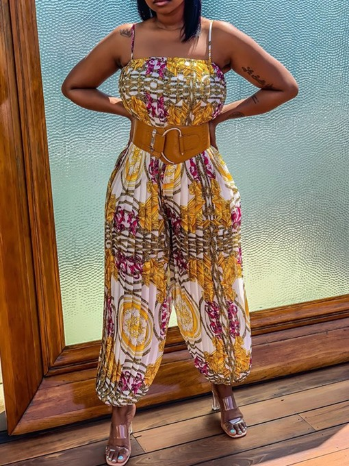 Ericdress Sweet African Fashion Color Block Print Loose Jumpsuit(Without Belt)