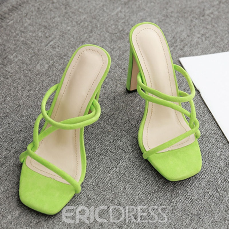 Ericdress Faux Suede Flip Flop Chunky Heel Women's Mules Shoes