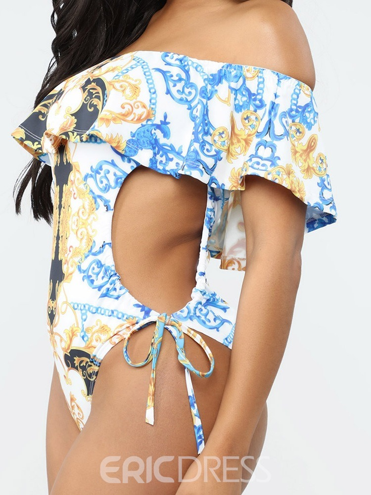 Ericdress Off-Shoulder Lace-Up Print Sexy Swimwear