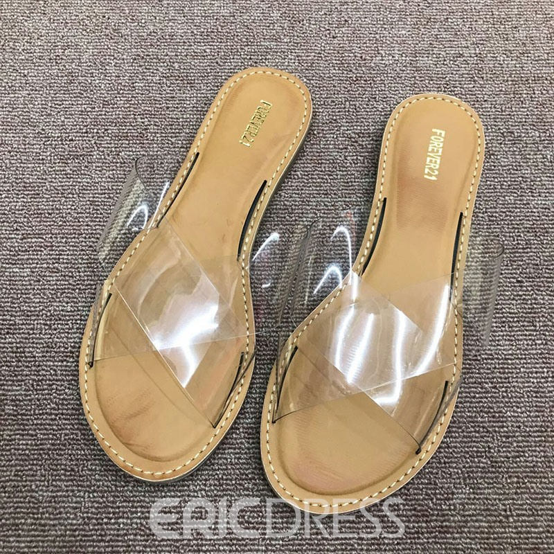 Ericdress PVC Cross Slip-On Women's Flat Sandals