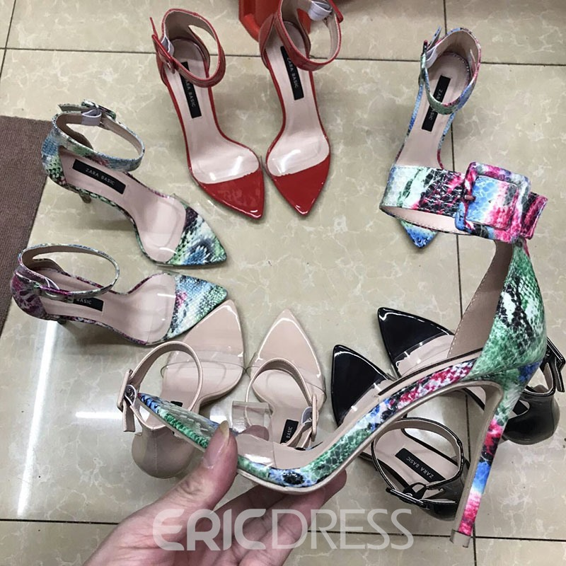 Ericdress PVC Buckle Open Toe Stiletto Heel Women's Sandals
