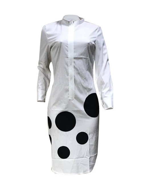 Ericdress Mid-Calf Polka Dots Print Going Out A-Line Dress
