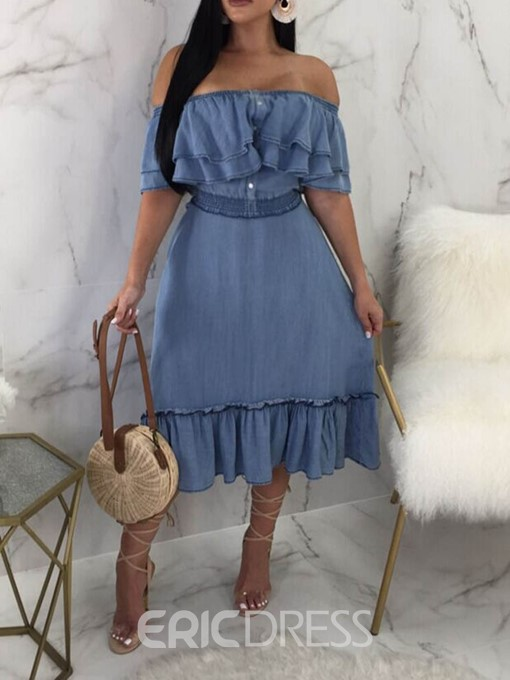 Ericdress Mid-Calf Button Off Shoulder A-Line Sweet Dress