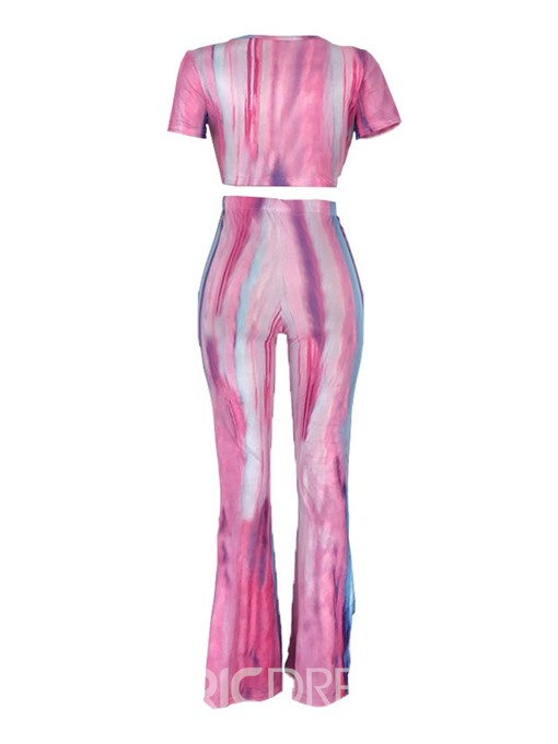 Ericdress Color Block Lace-Up Tie-Dye Bellbottoms T-Shirt And Pants Two Piece Sets