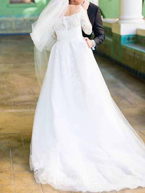Ericdress Lace 3/4 Length Sleeves Wedding Dress