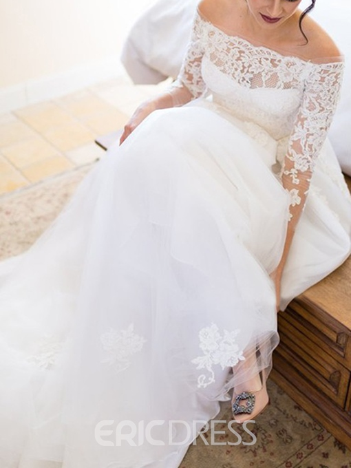 Ericdress Lace 3/4 Length Sleeves Wedding Dress 2019