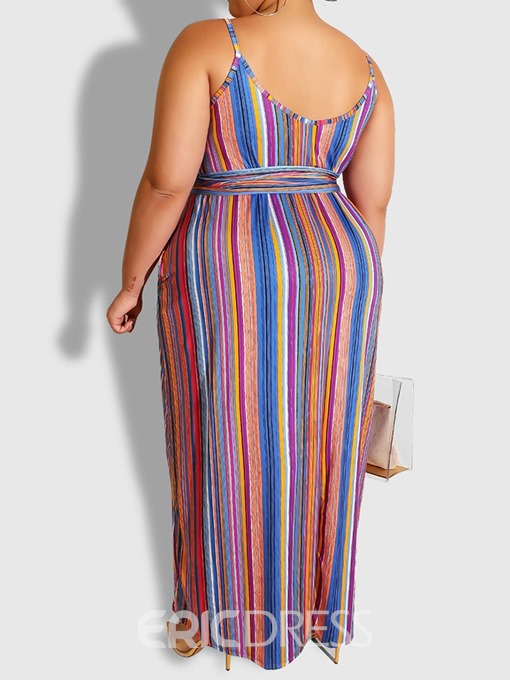 Ericdress Plus Size Sleeveless Lace-Up Ankle-Length A-Line Spaghetti Strap Dress