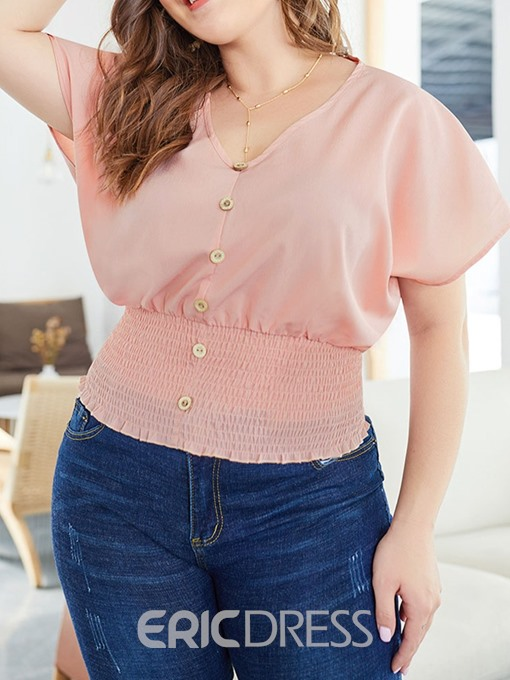 Ericdress Pleated Button V-Neck Plus Size Blouse