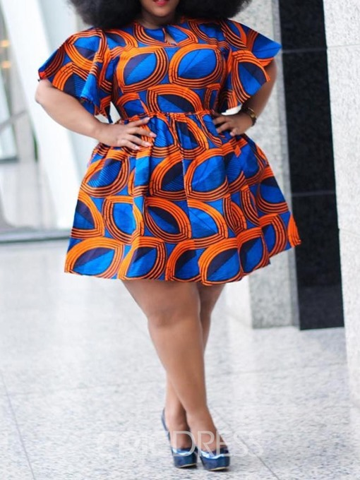 Ericdress Plus Size African Fashion Round Neck Above Knee Print A-Line Dress