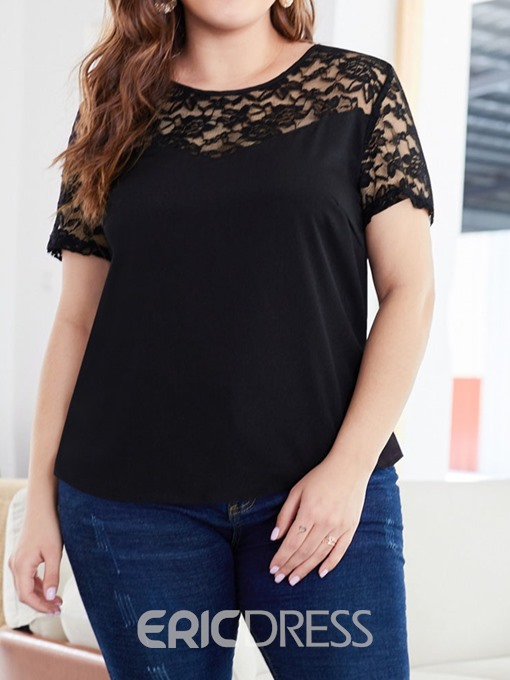 Ericdress Patchwork Lace Plus Size Short Sleeve T-Shirt